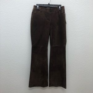 Moda International Suede pants flare bottom sz 6